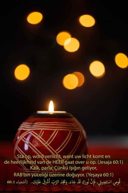 Kerstkaart 3 talen Jesaja 60:1