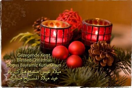 Kerstkaart Gezegende Kerst in 5 talen