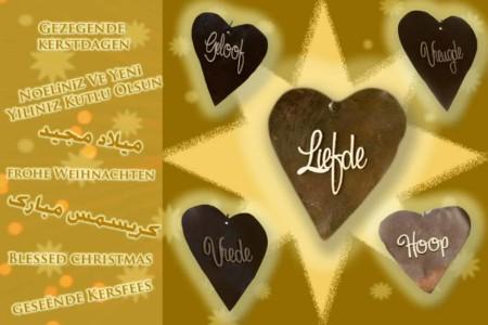 Kerstkaart liefde in 7 talen