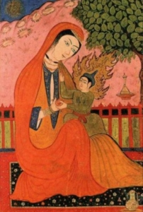 Marjam met Isa bij de Palmboom